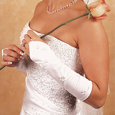 Floral Fingerless Bridal Gloves GL-215-8E