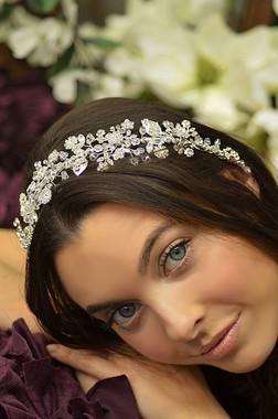 Elena Designs E807 -  Floral Crystal Motif Headpiece