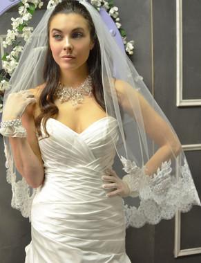 Elena Designs Wedding Veil Style E1156S -Fingertip Lace Edge