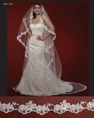 "Marionat Bridal Veils 3335- The Bridal Veil Company - 108"" Angel Cut Lace Veil"