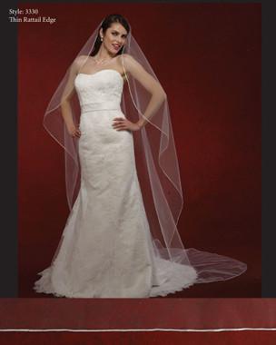 "Marionat Bridal Veils 3330- The Bridal Veil Company - 108"" Oval Rattail"