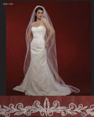 "Marionat Bridal Veils 3326- The Bridal Veil Company - 108"" Embroidered Design Veil"