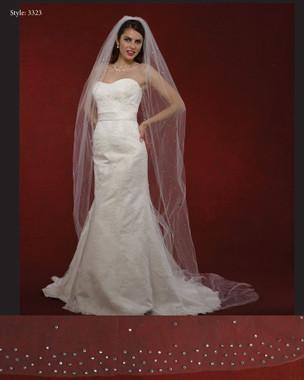 "Marionat Bridal Veils 3323- The Bridal Veil Company - 108"" Scattered Rhinestones Veil"