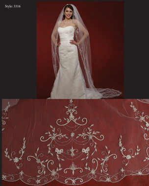 "Marionat Bridal Veils 3316- The Bridal Veil Company - 108"" Beaded Embroidery"