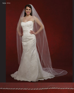 "Marionat Bridal Veils 3314- The Bridal Veil Company - 108"" Pearl Beaded Edge"