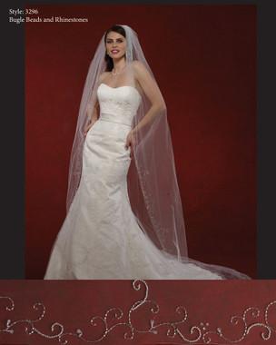 "Marionat Bridal Veils 3296- The Bridal Veil Company - 108"" Rhinestone Swirls"