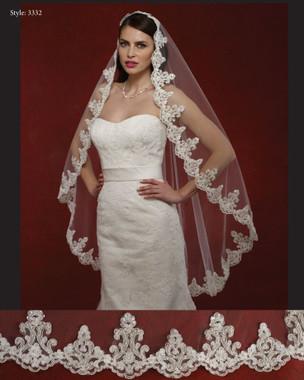 "Marionat Bridal Veils 3332- The Bridal Veil Company - 48"" Lace Edge Veil"