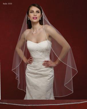 Marionat Bridal Veils 3333- The Bridal Veil Company - Oval Rhinestone Edge