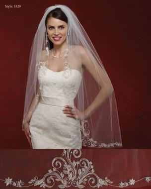 Marionat Bridal Veils 3329- The Bridal Veil Company - Beaded Embroidery Veil