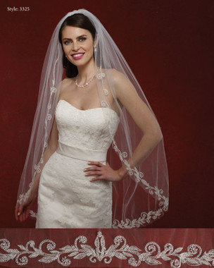 Marionat Bridal Veils 3325- The Bridal Veil Company - Embrodiered Rhinestone Edge