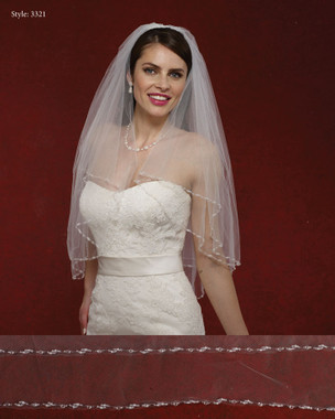 Marionat Bridal Veils 3321- The Bridal Veil Company - Beaded Rhinestone Edge