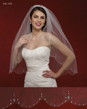 Marionat Bridal Veils 3320- The Bridal Veil Company - Scalloped Beaded Edge