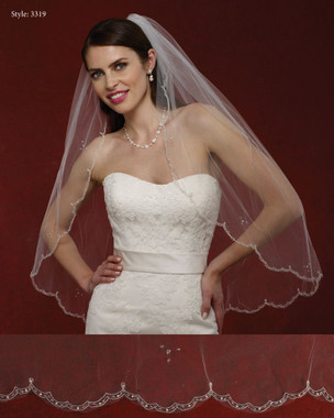Marionat Bridal Veils 3319- The Bridal Veil Company - Embrodiered Scallop Edge