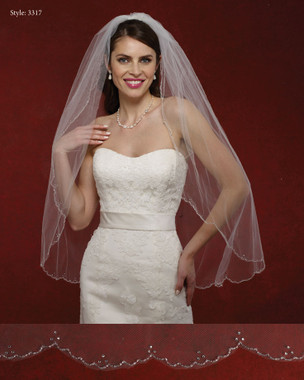 Marionat Bridal Veils 3317- The Bridal Veil Company - Beaded Scalloped Edge