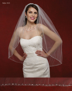 Marionat Bridal Veils 3315- The Bridal Veil Company - Beaded Rhinestone Edge