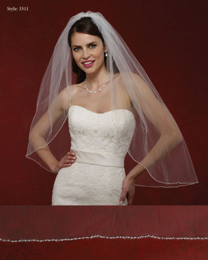 Marionat Bridal Veils 3311- The Bridal Veil Company - Beaded Pearl Edge