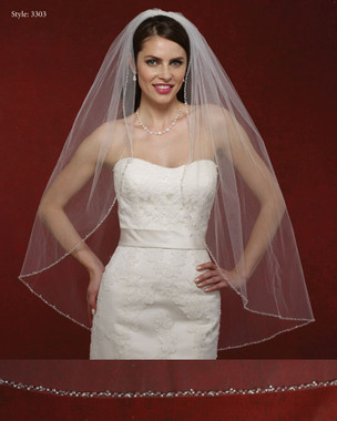 Marionat Bridal Veils 3303- The Bridal Veil Company - Rhinestone Beaded Edge