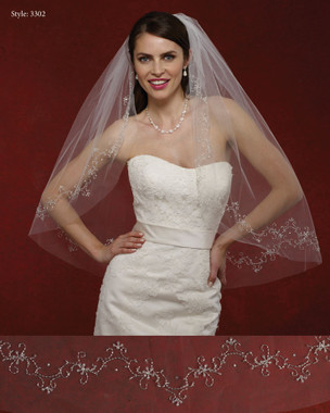 Marionat Bridal Veils 3302- The Bridal Veil Company - Beaded Rhinestone Edge