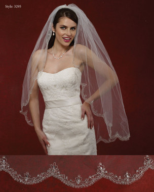 Marionat Bridal Veils 3295- The Bridal Veil Company - Scalloped Embroidered Edge