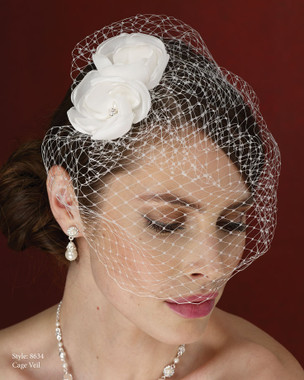Marionat Bridal Accessories - Marionat Bridal Headpieces 8634- Cage Veil with Flowers