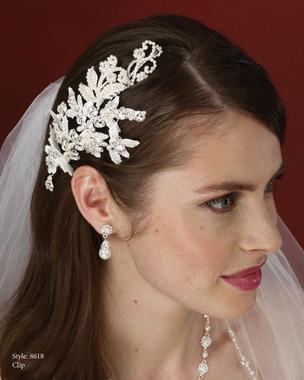 Marionat Bridal Accessories - Marionat Bridal Headpieces 8618- Pearl Lace Leaf Clip