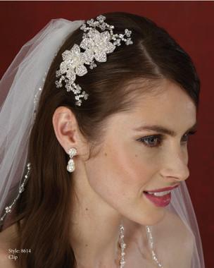 Marionat Bridal Accessories - Marionat Bridal Headpieces 8614- Rhinestone Flower Hair Clip