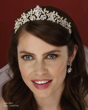 Marionat Bridal Accessories - Marionat Bridal Headpieces 8602- Gold Rhinestone Tiara