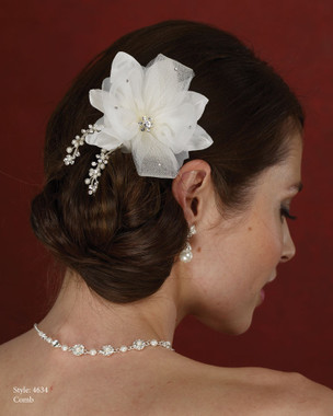 LeCrystal  Accessory - Marionat Bridal Headpieces 4634- Flower Comb with Pearl Sprays