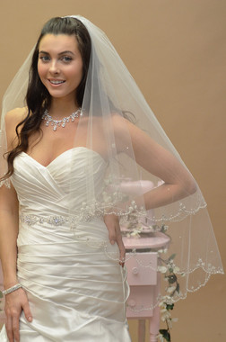 Ansonia Bridal Veil Style 640 SET - Two Tier Cathedral with Scalloped Beaded Edge