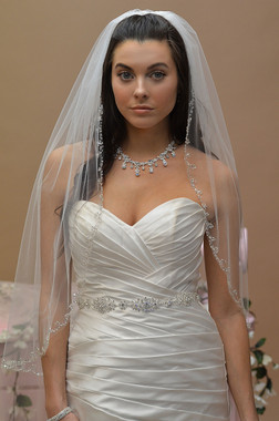 Ansonia Bridal Veil Style 639- One Tier Fingertip with Sequins Beaded Edge