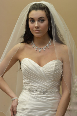 Ansonia Bridal Veil Style 638- One Tier Fingertip with Beaded Vine Motif