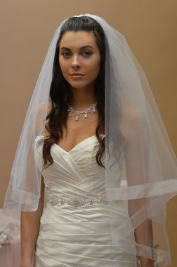 Ansonia Bridal Veil Style 633S - Two Tier Fingertipwith with Organza Ribbon Edge