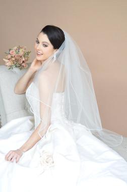 Ansonia Bridal Veil Style HP603VL - Two Tier Cathedral Rhinestone Edge