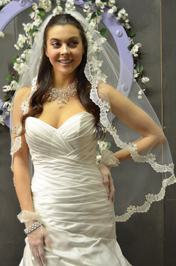 Elena Designs Wedding Veil Style E1161L - Cathedral Beaded Scalloped Lace Edge
