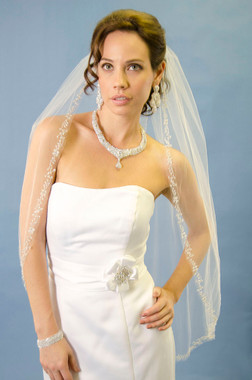 ANSONIA BRIDAL VEIL STYLE 150 -  fingertip beaded edge veil with a raw / cut edge trimmed