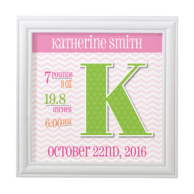 Personalized Pink Announcement Frame - Lillian Rose