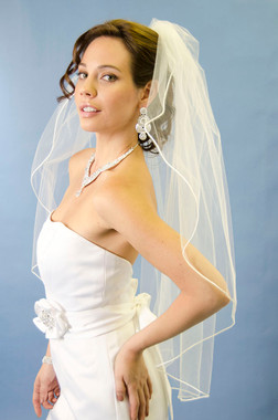 Ansonia Bridal Veil Style 485 - One tier, fingertip veil with vermicelli edge