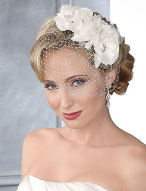 Bel Aire Bridal 6442- French net with flower trio