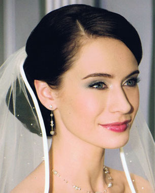 Bel Aire Bridal Wedding Veil V7030- One Tier Fingertip Bias Satin + Rhinestones