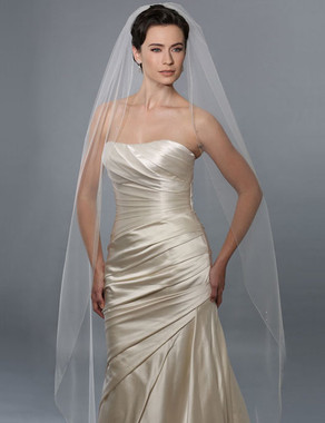 Bel Aire Bridal Wedding Veil V7160 - One Tier Floor Length Silver Rolled Edge
