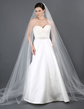 Bel Aire Bridal Style V7179C- One Tier Dramatic Cut Edge Full Cathedral Wedding Veil w/Sides To Floor