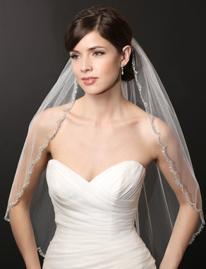 Bel Aire Bridal Wedding Veil V7224- One Tier Elbow with Scallop Bead & Sequin Edge