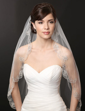 Bel Aire Bridal Wedding Veil V7227 - One Tier Scallop and Embroidered Veil