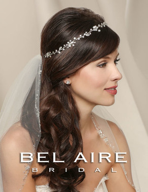 Bel Aire Bridal Veils V7228 - One Tier Elbow with Silver Beaded Edge