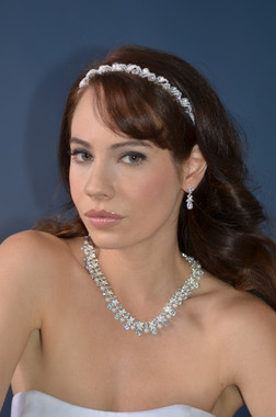 Ansonia Bridal 8516 - Rhinestone and Pearl Earring and Necklace Set