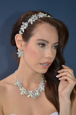 Ansonia Bridal 8523 - Rhinestone Leaf Stretch Headband