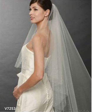 Bel Aire Bridal Wedding Veil V7253C - One Tier Cathedral Wedding Veil  Cut Edge Cascade with Pearls