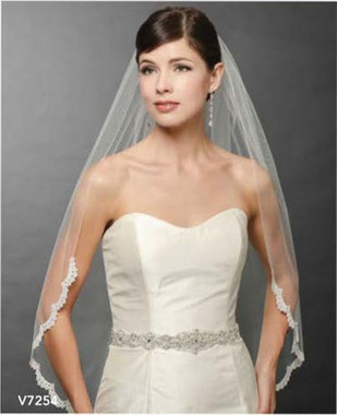 Bel Aire Bridal Wedding Veil V7254 - One Tier Fingertip with Rolled Edge & Narrow Venise Lace
