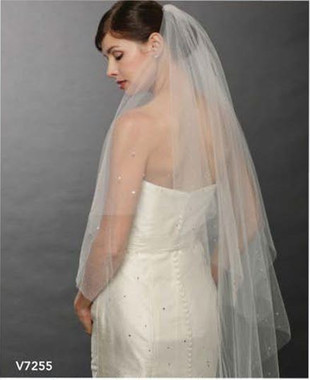 Bel Aire Bridal Wedding Veil V7255 - Two Tier Cut Edge Waltz Length with Rhinestones