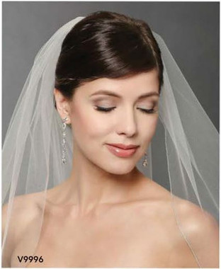 Bel Aire Bridal Veils V9996C - One Tier Cathedral Wedding Veil Metallic Rolled Edge